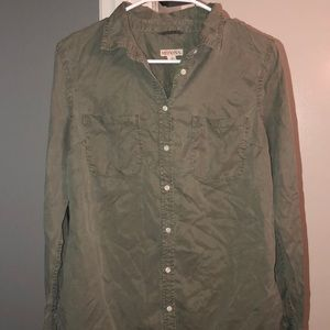 Olive green button up the front shirt